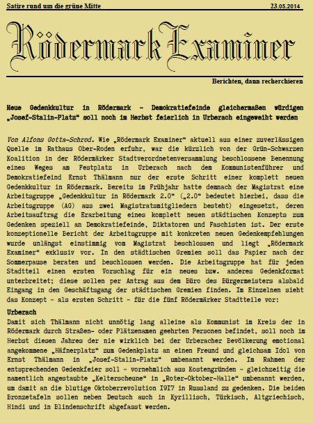 NL 23 05 2014 Gedenkkultur in <hr />Neue Gedenkkultur in Rödermark