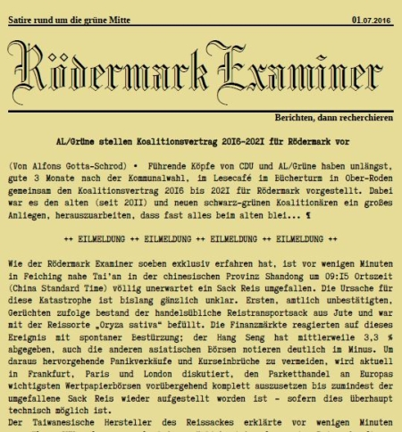 Examiner 01 07 2016 in Rödermark. Koalitionsvertrag CDU, AL/Die Grünen