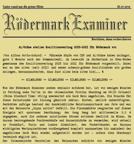 Examiner. 01.07.2016. Koalitionsvertrag AL/Die Grünen, CDU