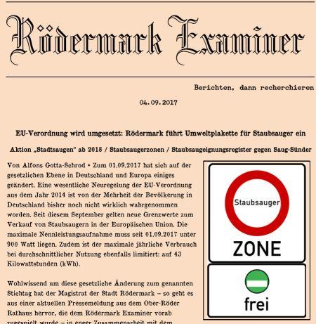 Examiner. Ausgabe 04.09.2017. Staubsauger